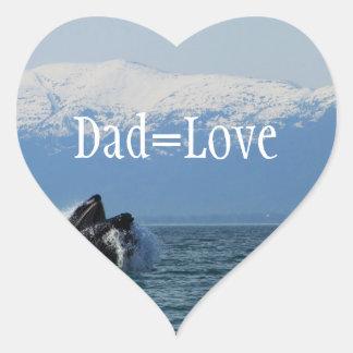 Cabeza de la ballena jorobada; El día de padre Pegatina De Corazón