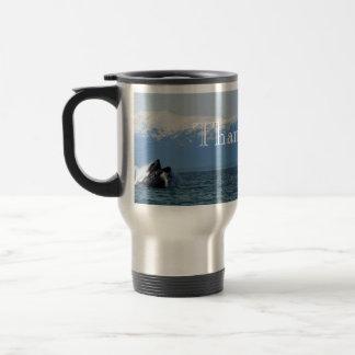 Cabeza de la ballena jorobada; Gracias Taza De Viaje De Acero Inoxidable