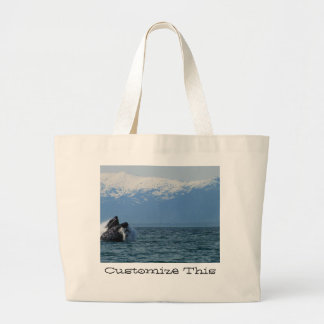 Cabeza de la ballena jorobada; Personalizable Bolsa Tela Grande