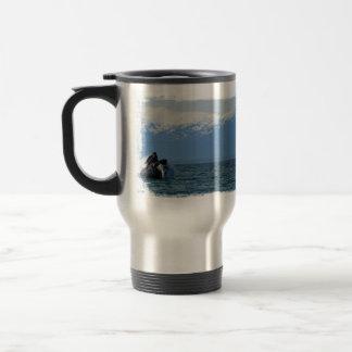 Cabeza de la ballena jorobada taza de viaje de acero inoxidable
