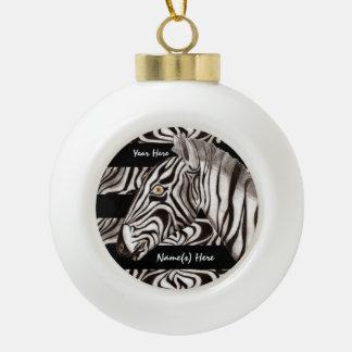 Cabeza de la cebra adorno de cerámica en forma de bola