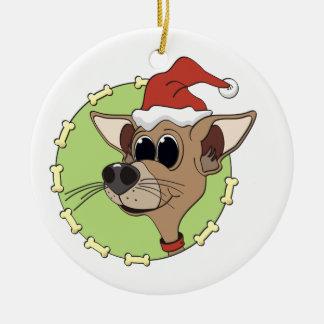 Cabeza de la chihuahua del navidad adorno redondo de cerámica
