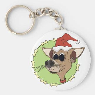 Cabeza de la chihuahua del navidad llavero redondo tipo pin