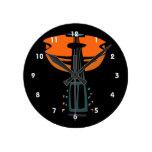 cabeza de la guitarra acústica en orange.png relojes de pared