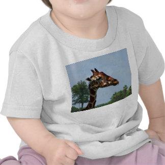 Cabeza de la jirafa contra imagen de la fotografía camiseta