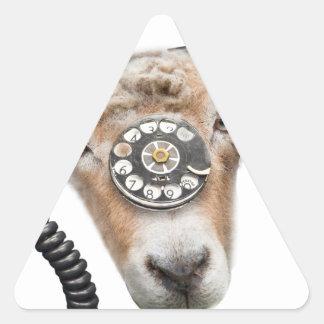 Cabeza de la llamada de teléfono de la cabra pegatina triangular