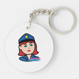 Cabeza de la mujer de la policía - luz/rojo llaveros