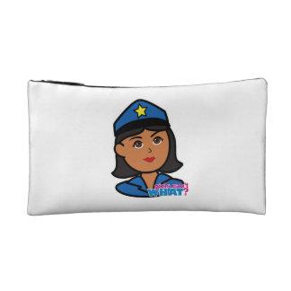 Cabeza de la mujer de la policía - oscuridad