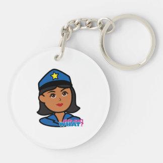 Cabeza de la mujer de la policía - oscuridad llavero