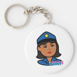 Cabeza de la mujer de la policía - oscuridad llaveros personalizados