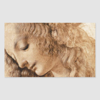Cabeza de la mujer de Leonardo Pegatina Rectangular