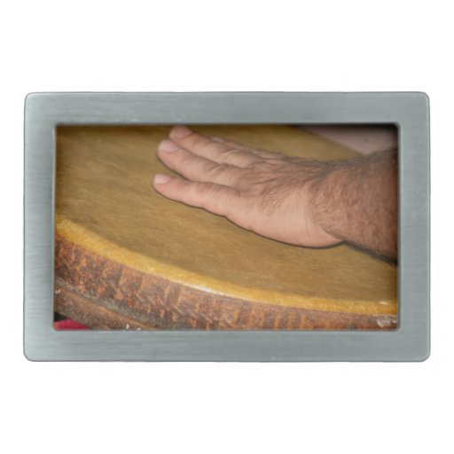 cabeza de la piel del tambor de la mano con hand.j hebilla de cinturón rectangular