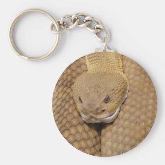 Cabeza de la serpiente de cascabel llavero redondo tipo pin