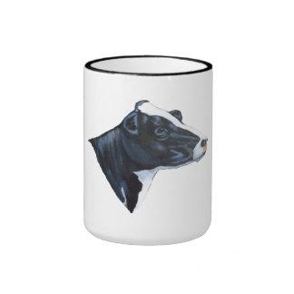 Cabeza de la vaca lechera de Holstein: Pintura de  Taza A Dos Colores