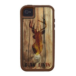 Cabeza de los ciervos de la viruta de Dixie Livin iPhone 4/4S Carcasas