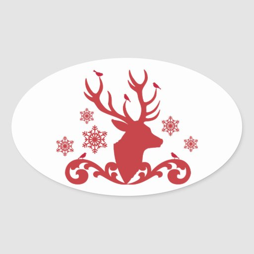 Cabeza de los ciervos del navidad con los copos de pegatina ovaladas personalizadas