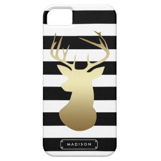 Cabeza de los ciervos del oro negra y rayas iPhone 5 carcasas