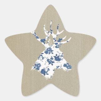 Cabeza de los ciervos del vintage pegatina en forma de estrella