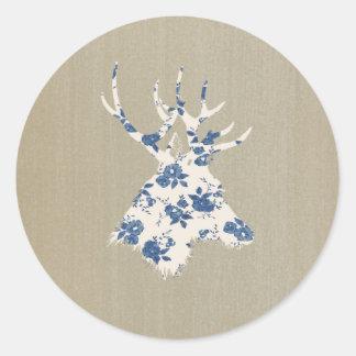 Cabeza de los ciervos del vintage pegatina redonda