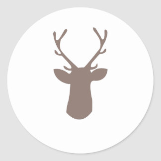 Cabeza de los ciervos pegatina redonda