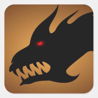 Cabeza de los dragones calcomania cuadradas personalizada