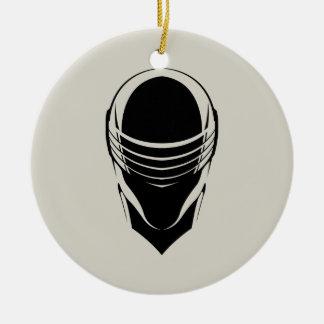 Cabeza de los ojos de serpiente adorno navideño redondo de cerámica