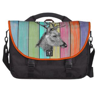 Cabeza de madera colorida de los ciervos del vinta bolsas de ordenador