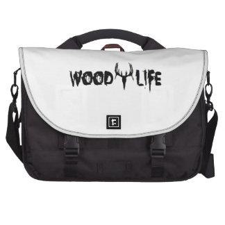 Cabeza de madera de los ciervos de la vida bolsas para portatil