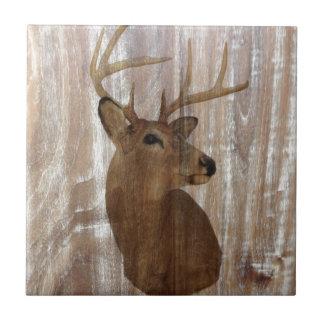 cabeza de madera rústica de los ciervos del grano  azulejo cuadrado pequeño