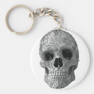 Cabeza de muerte humana del cráneo del caramelo de llavero redondo tipo pin