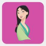 Cabeza de Mulan dada vuelta Pegatinas Cuadradas Personalizadas
