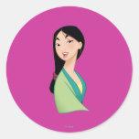 Cabeza de Mulan dada vuelta Pegatinas Redondas
