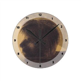 Cabeza de Odilon Redon- de Orfeo en el agua Relojes De Pared