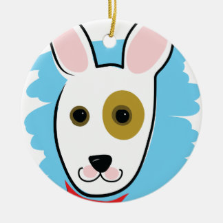 Cabeza de perro adorno redondo de cerámica