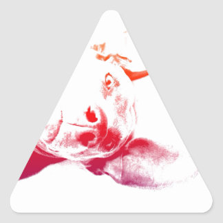 Cabeza de perro del arte pop pegatina triangular
