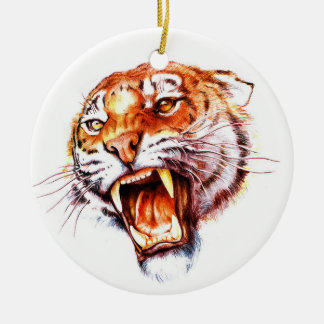 Cabeza de rugido del tigre del dibujo animado del adorno navideño redondo de cerámica