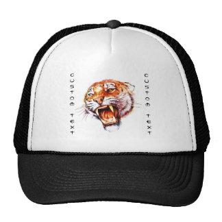 Cabeza de rugido del tigre del dibujo animado del  gorra