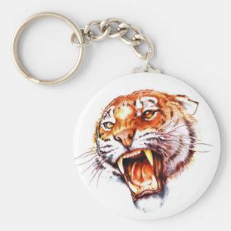 Cabeza de rugido del tigre del dibujo animado del  llaveros
