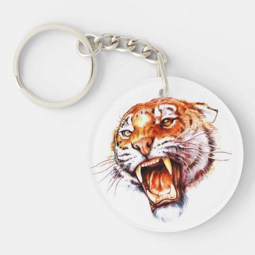 Cabeza de rugido del tigre del dibujo animado del llavero redondo acrílico a doble cara