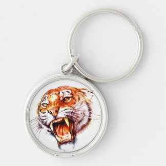 Cabeza de rugido del tigre del dibujo animado del llavero redondo plateado