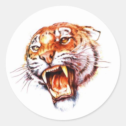 Cabeza de rugido del tigre del dibujo animado del etiquetas redondas