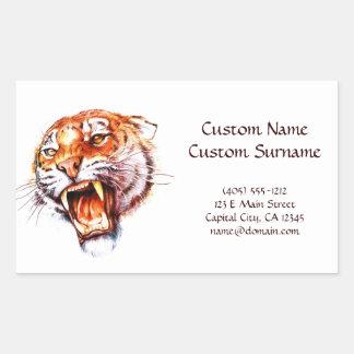 Cabeza de rugido del tigre del dibujo animado del pegatina rectangular