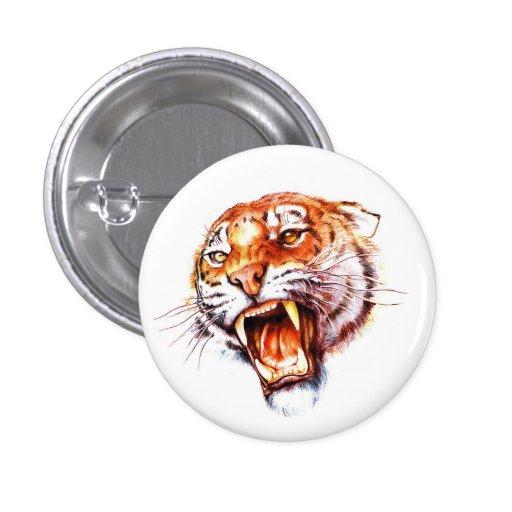 Cabeza de rugido del tigre del dibujo animado del  pin redondo 2,5 cm