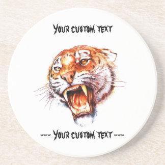 Cabeza de rugido del tigre del dibujo animado del  posavasos manualidades