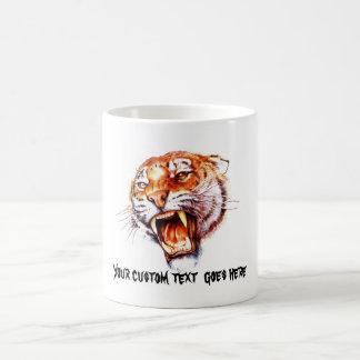 Cabeza de rugido del tigre del dibujo animado del taza