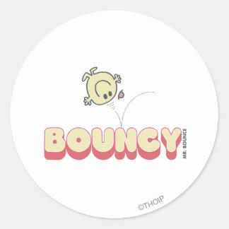 Cabeza de Sr. Bounce Bouncing On His Pegatina Redonda