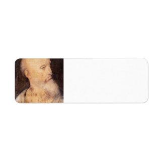 Cabeza de St Andrew de Leonardo da Vinci Etiquetas De Remite