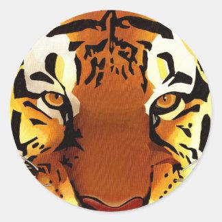 cabeza de tigre pegatina redonda
