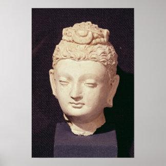 Cabeza de un Buda, estilo Greco-Budista Póster