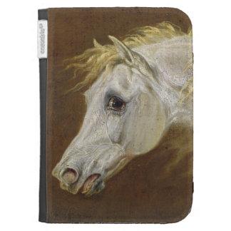 Cabeza de un caballo árabe gris (aceite en lona en